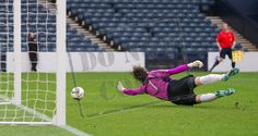 The ball hits the East Fife net during the SPFL League Two game between Queen's Park and East Fife.
