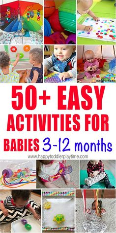 50 Activities for Babies Months - HAPPY TODDLER PLAYTIME Here are 50 simple activities for babies you can easily create at home. From sensory bags to baby sticky walls there are tons of ideas here for your baby. 6 Month Baby Activities, Baby Learning Activities, Infant Sensory Activities, Montessori Activities, Baby Activites, Indoor Activities, Baby Sensory Board, Baby Sensory Play, Baby Play