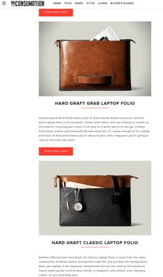 London-based Hard Graft makes a ton of drool-worthy leather products, and this Grab Laptop Folio is no exception. Unlike other folios, this one features a handle on the exterior, ensuring you'll have a firm grip on it while you're on-the-go. Crafted from Italian leather and lined with German wool felt, it's roomy enough to fit a laptop, print-outs of that presentation you're about to give, and a magazine you're going to read on the train ride home.