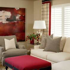 Nutral Living Room With Blue And Red Accents Design Ideas, Pictures, Remodel and Decor