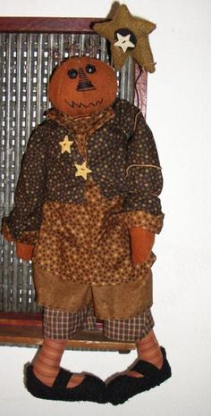 Primitive Doll Patterns | Stella Pumpkin Primitive Doll Pattern by JAMS PAtterns