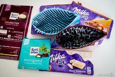 Süße Taschen aus Schokoladenpapier