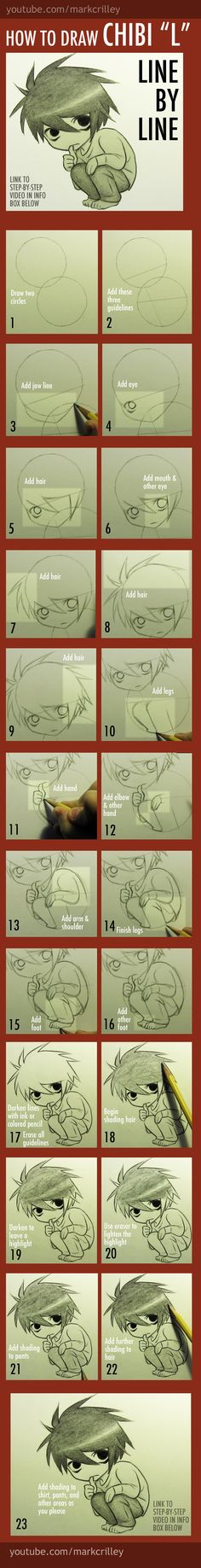 How to Draw Chibi L from Death Note by markcrilley.deviantart.com on @deviantART