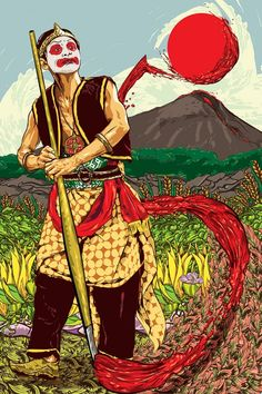 Painting Wayang Wong | Javanese, Indonesian, Indonesia, Southeast Asia