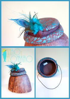 Minihat brown/turquoise brocade with feathers