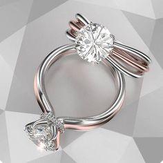 Diamond Wedding Rings : Solitaire Engagement Ring Two Tone Gold -. - Buy Me Diamond Diamond Rings, Diamond Jewelry, Jewelry Rings, Fine Jewelry, Solitaire Diamond, Solitaire Rings, Gold Rings, Ruby Rings, Crystal Jewelry