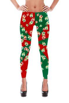 Elf Leggings - Christmas Leggings - Christmas Elf Leggings - Yoga Leggings - Winter Leggings - Christmas Gift - Gifts - Sant Elf Leggings