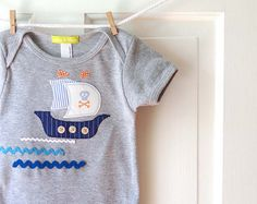 Pirate Ship Baby Boy Onesie-Grey and Blue- Handmade Applique Boat Bodusuit- 6m 12m 18m- Baby Shower Gift
