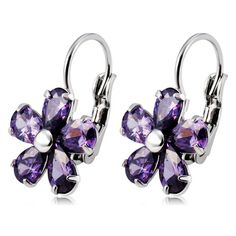 Women's Elegant Purple Plum Design Alloy + Zircon Ear Buckles Earrings - Silver