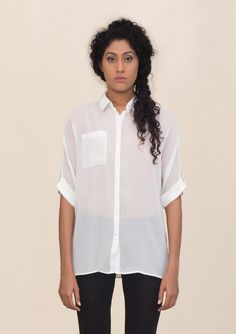 Buy Hand Emboridered Long Shirt for Women in India at low price – Shop Hand Stitched / Embroidered Tops and Shirts in Georgette - Bunosilo.com $82