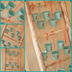 bucket advent on a ladder! Christmas Projects, Fun Projects, Christmas Holidays, Christmas Ideas, Creative Crafts, Diy Crafts, Vintage Ladder, Vintage Calendar, Advent Calenders