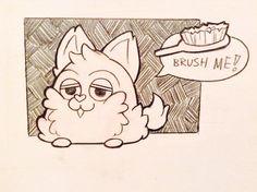 "Tattletail fan art of a Baby Tattletail saying ""Brush Me!"" affogatosleep @ tumblr Tattletail"
