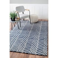 Shop for nuLOOM Handmade Chevron Denim Wool Rug (8'3 x 11'). Get free shipping at Overstock.com - Your Online Home Decor Outlet Store! Get 5% in rewards with Club O!