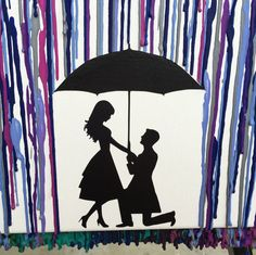 Engagement Gifts For Couples Art Melted Crayon Gift Fiance Umbrella Painting Proposal Silhouette 16x20