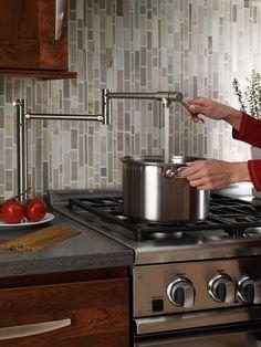Kitchen Convenience - Pot Filler & Range love the idea of counter mount and fold away arms Kitchen Redo, Kitchen Pantry, Kitchen Backsplash, Kitchen Dining, Kitchen Appliances, Kitchen Stove, Cocinas Kitchen, Diy Décoration, Cool Kitchens