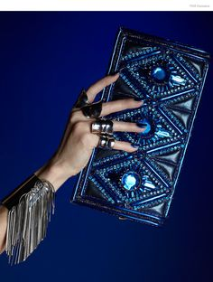 CA & Lou Fringe Cuff, Balmain Metallic Embellished Clutch, Dannijo All Rings, Nail Color Metallica Blue by Kleancolor