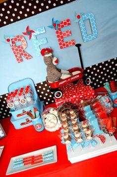 "Photo 1 of 16: Sock Monkeys!! / Birthday ""Sock Monkey Reed Turns One!!""   Catch My Party"