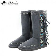 Gray Aztec Side Women's Winter Boots