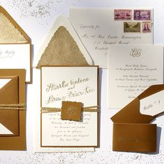 Elegant Gold Calligraphy Wedding Invitation honey-paper.com #californiawinecountry #santaynez