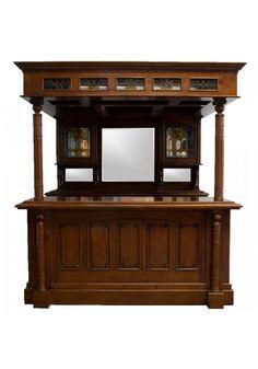 British Pub Saloon Home Bar Drk Oak Wood Old Styl Carved Tavern Furniture Canopy Things I Like