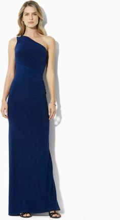 Lauren By Ralph Lauren Dress Chana One-shoulder Long Dress in Blue (Lighthouse Navy)