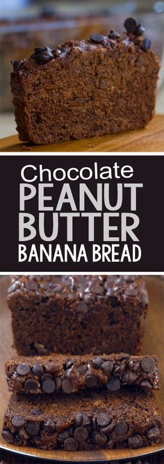 Thick, rich, fudgy chocolate peanut butter banana bread recipe