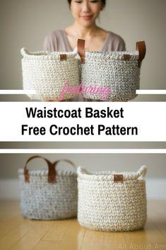 Waistcoat Stitch Crochet Basket With Handles Free Pattern