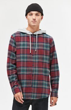 d0c2071b1b Plaid Flannel Hooded Shirt Plaid Flannel