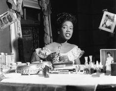 Sarah Vaughan, in Newark, NJ, in her dressing room in Chicago, 1948.