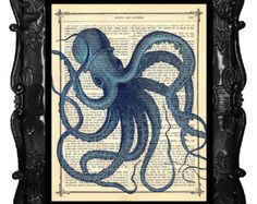 Blue OCTOPUS - Original Art Print- OCTOPUS art featured on HGTV, dictionary antique book page print