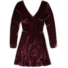 Hollister Cross-Back Velvet Skater Dress ($50) ❤ liked on Polyvore featuring dresses, burgundy, burgundy skater dress, long sleeve fit and flare dress, fit flare dress, long-sleeve velvet dresses and burgundy long sleeve dress