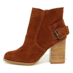 Sbicca Lorenza Cognac Suede Leather Ankle Booties ($94) ❤ liked on Polyvore featuring shoes, boots, ankle booties, brown, slip on boots, cognac booties, pull on boots, zipper boots and zip boots