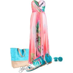 """""""Coral Unique Tropical Maxi Dress !"""" by stylisheve on Polyvore"""