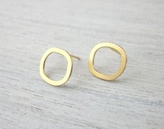 Small Hollow Circle Post Earrings in Gold by shlomitofir on Etsy, $31.00