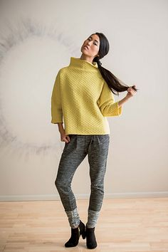 """FINISHED SIZE 40 (44, 47 1/2, 51 1/2, 55 1/2, 59)"""" bust circumference. Pullover shown measures 44"""", modeled with 12"""" of positive ease."""