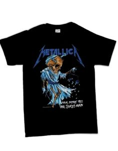 Metallica Dorris Mens T-Shirt - This mens Metallica t-shirt in black features an image of the cover design from the bands Damaged Justice 89 Tour CD printed on its front, the artwork of Doris (Lad