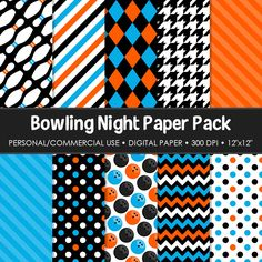 Bowling Night Digital Printable Paper Pack For by MareeTruelove