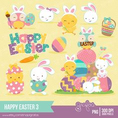 HAPPY EASTER 3  Digital Clipart , Easter Clipart, Bunny ClipArt, Easter Egg Clipart, Easter Chicks / Instant Download