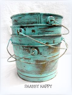 Seaside Shabby Rustic Rusted Metal buckets in Robin's Egg Blue . Would be so easy to do. Tin Buckets, Galvanized Buckets, Galvanized Metal, Galvanized Decor, Upcycled Home Decor, Repurposed, Pots, Rusted Metal, Turquoise