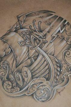 Sketches of Paganism - Sketches of Paganism - Viking Ship Tattoo, Viking Tattoo Symbol, Norse Tattoo, Viking Tattoo Design, Celtic Tattoos, Viking Symbols, Viking Art, Tattoo Sleeve Designs, Sleeve Tattoos