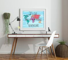 Peter Pan wall art- Watercolor map - Gift for book lover - Adventure Quote - Classic Book Quote - Dorm Decor - Peter Pan Nursery art - Fairy tale artwork - Storybook nursery - Bookworm gift - Booknerd - Bookish - Book Quote - Peter Pan Decor - Watercolor map - To live would be an awfully big adventure - adventure quote - travel quote