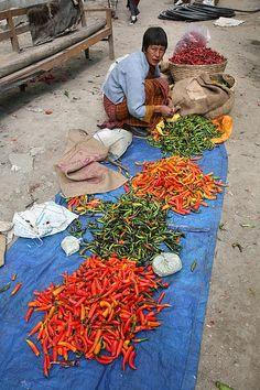selling chilis, Bhutan  www.AsiaTranspacific.com