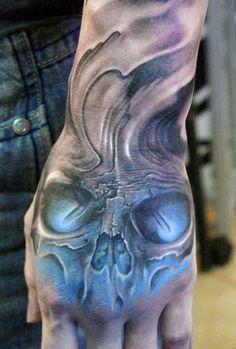 BlueSkull Tattoos For Men On Hand                                                                                                                                                                                 More