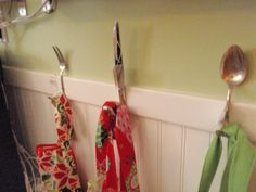 Old utensils to wall hooks