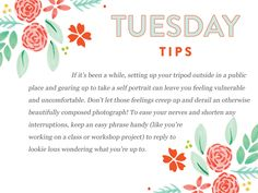 Bloom's Tuesday Tips:  http://www.everythingbloom.com/tuesday-tips-159-%C2%B7-the-photogenic-photographer