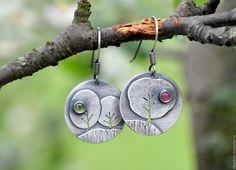 """Купить Серьги """"Весенний сад"""" (серебро 925, турмалины) - весна, деревья, дерево, цветущий сад"""