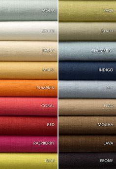 Avery Cotton Plain Schumacher Fabric--Love the coral! Drapery Fabric, Fabric Decor, Fabric Design, Coral Fabric, Red Fabric, Kinds Of Fabric, Cotton Fabric, Color Combinations For Clothes, Colour Combinations