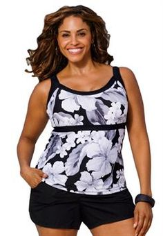 Look at this Black & White Casablanca Tankini Top - Women & Plus by Beach Belle Swimsuits For Teens, Plus Size Swimsuits, Tankini Top, Summer Wear, Summer Outfits, Swim Dress, Swimwear Fashion, Plus Size Outfits, Plus Size Fashion
