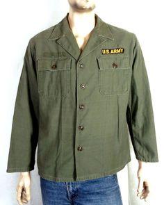 25705a4ae4b6 vtg 60s 1st version US Army Vietnam War Sateen Uniform Shirt OG 107 11th  corps L