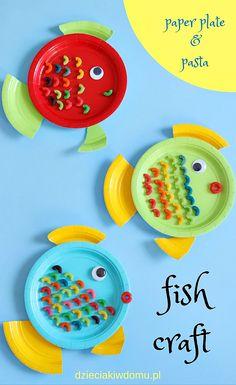 rybki z paierowych talerzyków / fish craft for kids Summer Camp Crafts, Camping Crafts, Easy Crafts For Kids, Projects For Kids, Diy For Kids, Summer Fun, Art Projects, Ocean Crafts, Fish Crafts
